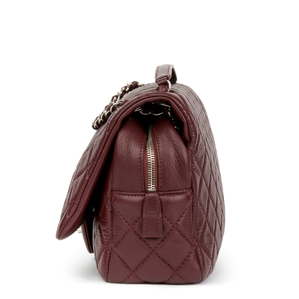 bef5336bbdd909 Chanel Aubergine Quilted Calfskin Leather Jumbo Easy Carry Flap Bag