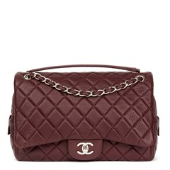 Chanel Aubergine Quilted Calfskin Leather Jumbo Easy Carry Flap Bag
