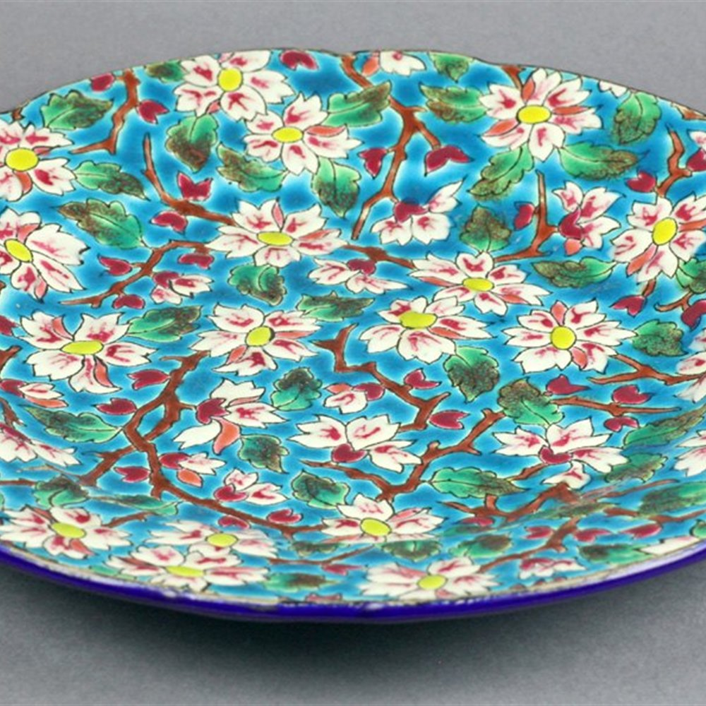 EMAUX DE LONGWY FLORAL PLATE Early 20th Century