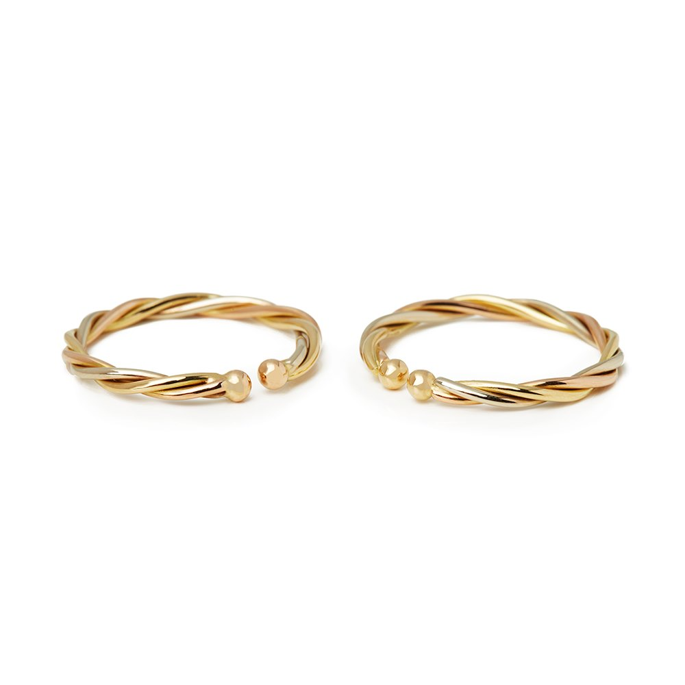 Cartier 18k Yellow, White & Rose Gold Twist Design Tension Hoop Earrings