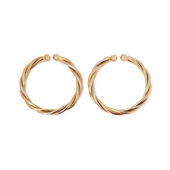 Cartier 18k Yellow, White & Rose Gold Trinity Hoop Earrings