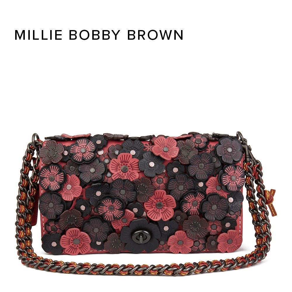 Coach Pink & Black Calfskin Leather Rose Appliqué Dinky Bag donated by Millie Bobby Brown