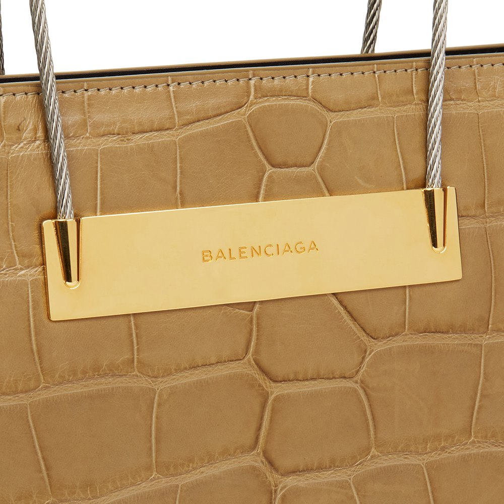 Balenciaga Olive Green Alligator Leather Small Cable Shopper
