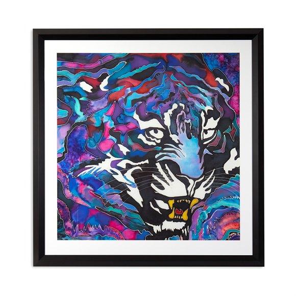 Winifred Jagger, Tiger, Silk Batik Painting 2016