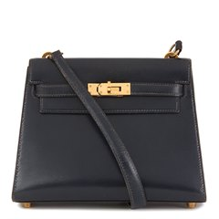 Hermès Navy Box Calf Leather Mini Kelly 20cm