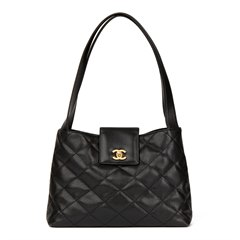 Chanel Black Quilted Caviar Leather Classic Shoulder Bag