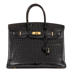 Hermès Black Shiny Porosus Crocodile Leather Birkin 35cm