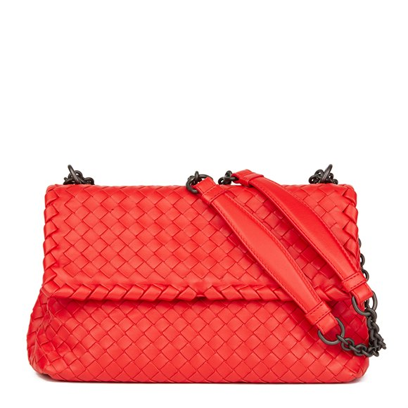 Bottega Veneta Vesuvius Red Woven Calfskin Leather Small Olimpia Bag