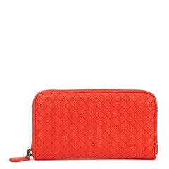 Bottega Veneta Vesuvius Red Woven Calfskin Leather Zip Around Wallet