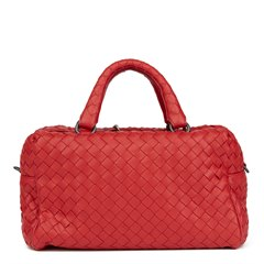 Bottega Veneta China Red Woven Calfskin Leather Mini Top Handle