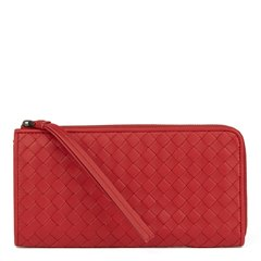 Bottega Veneta China Red Woven Calfskin Leather Zip Around Wallet