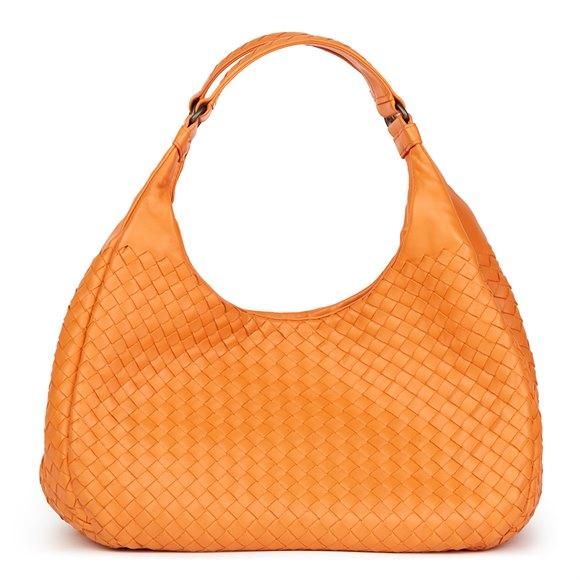 Bottega Veneta Orange Woven Calfskin Leather Medium Campana Bag