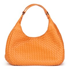 Bottega Veneta Orange Woven Calfskin Leather Medium Campana Bag