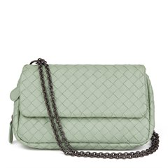 Bottega Veneta Mint Green Woven Calfskin Leather Mini Messenger Bag