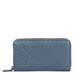 Bottega Veneta Tourmaline Woven Calfskin Leather Zip Around Wallet