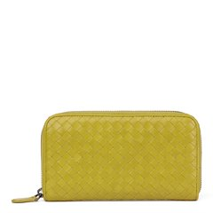 Bottega Veneta Ancient Gold Woven Calfskin Leather Zip Around Wallet