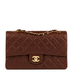 Chanel Chocolate Brown Quilted Lambskin Vintage Medium Classic Double Flap Bag