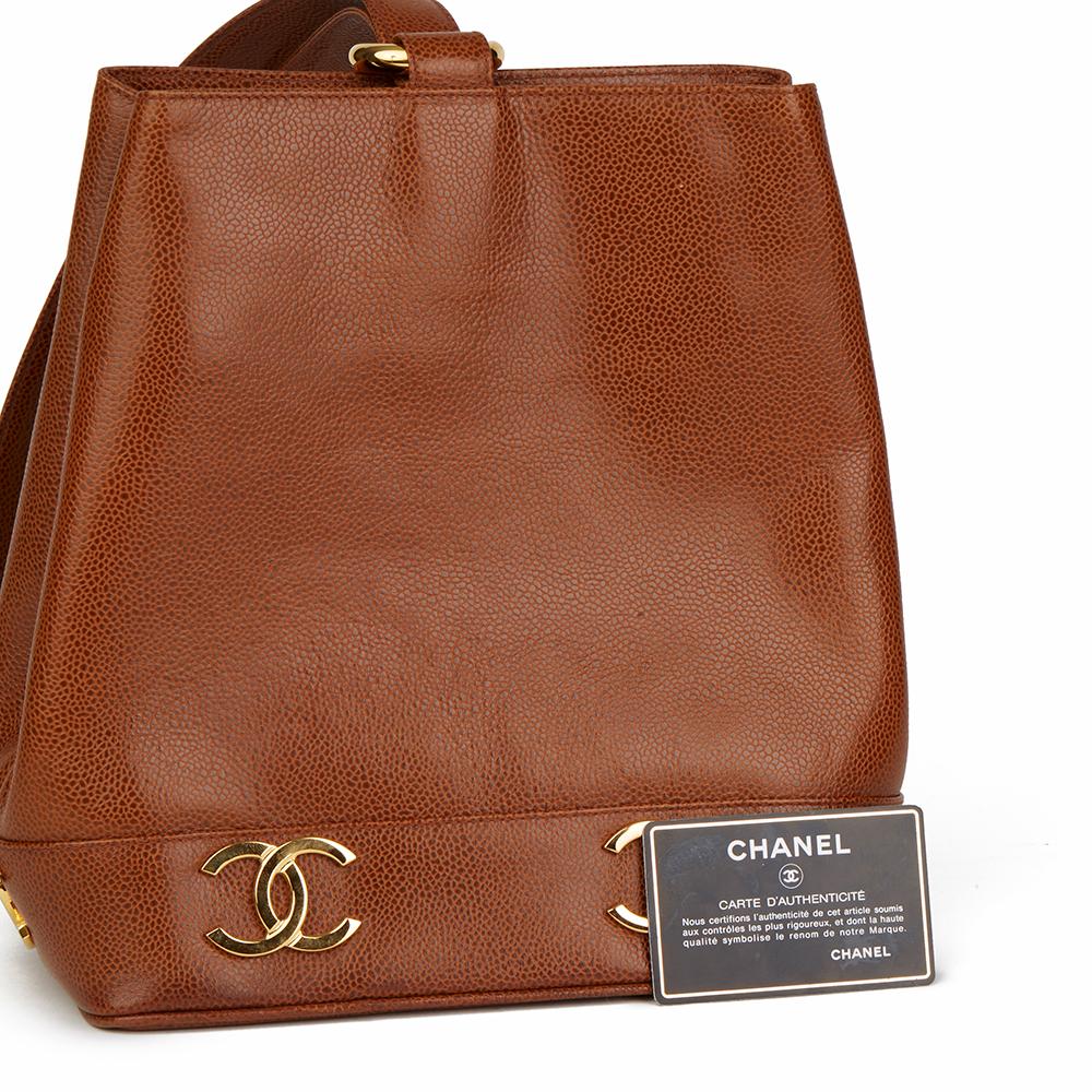 Dettagli su CHANEL Marrone Caviale in Pelle Vintage Logo Trim Bucket Bag  HB1807- mostra il titolo originale a54ba0a7c9874