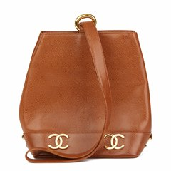 Chanel Brown Caviar Leather Vintage Logo Trim Bucket Bag