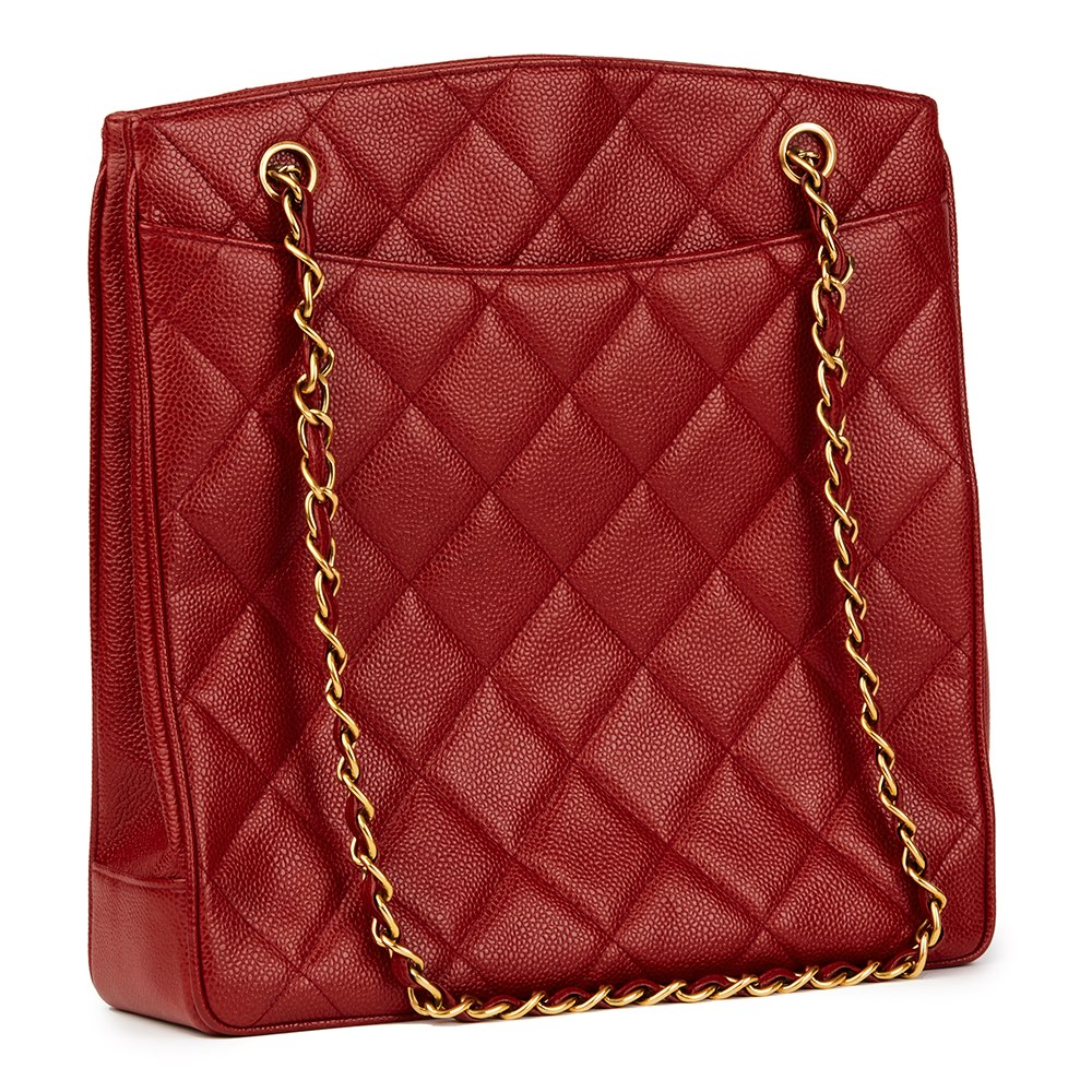 d0d7212e18c5 Chanel Red Quilted Caviar Leather Vintage XL Timeless Shoulder Bag