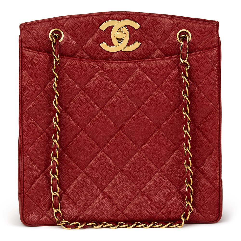 Chanel Red Quilted Caviar Leather Vintage XL Timeless Shoulder Bag