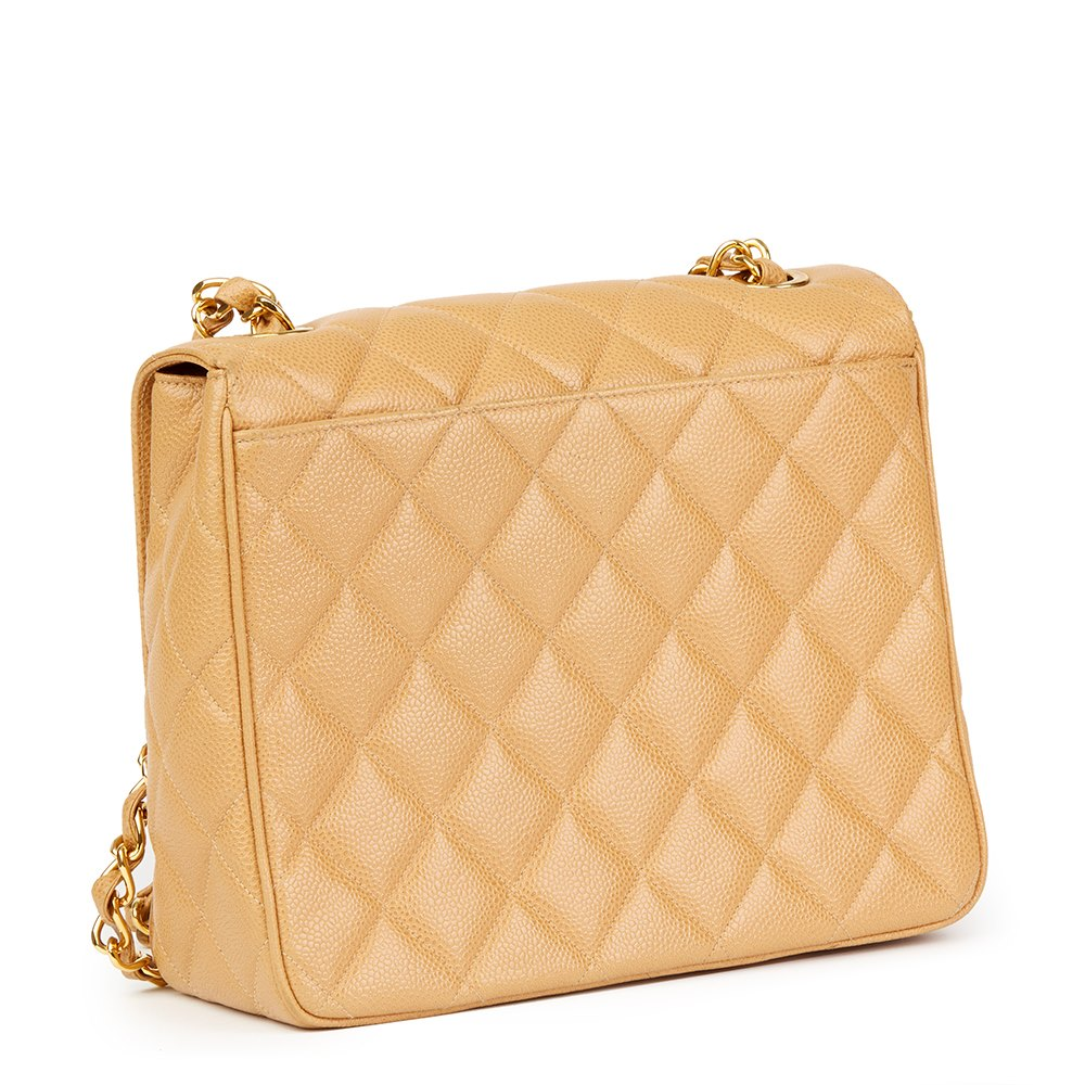 5e0927227375cd Chanel Beige Quilted Caviar Leather Vintage XL Classic Single Flap Bag