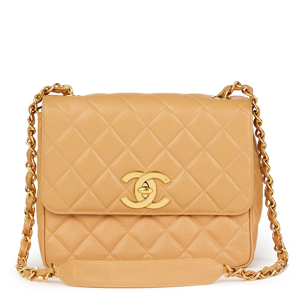 9e2546bd3f3105 Chanel Beige Quilted Caviar Leather Vintage XL Classic Single Flap Bag