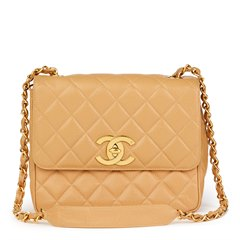 Chanel Beige Quilted Caviar Leather Vintage XL Classic Single Flap Bag