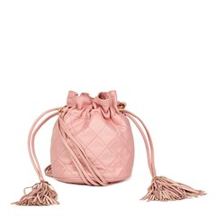 Chanel Pink Quilted Lambskin Vintage Timeless Bucket Bag