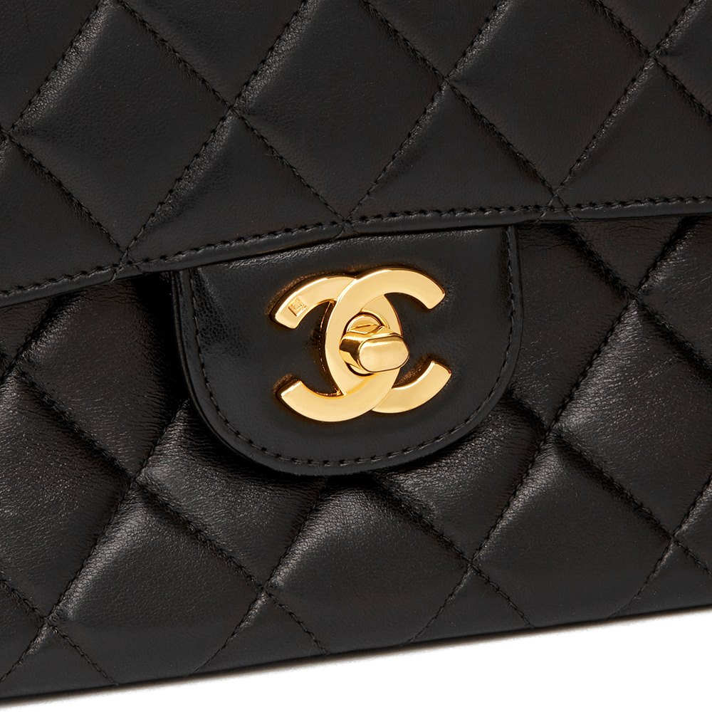 31d7f07629ad Chanel Black Quilted Lambskin Vintage Medium Double Sided Classic Flap Bag