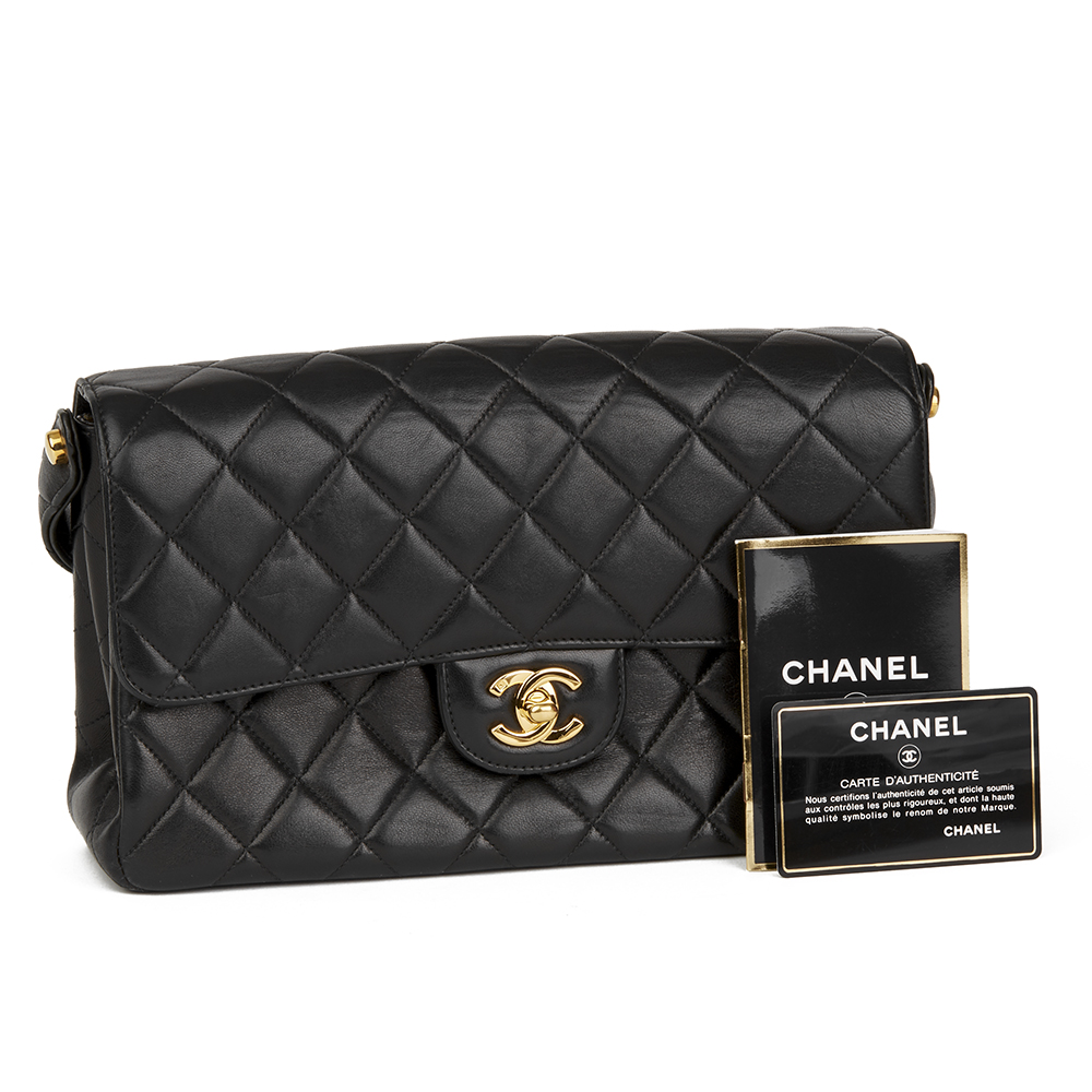 2aa76cba5dc1 Chanel Black Quilted Lambskin Vintage Medium Double Sided Classic Flap Bag