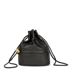 Chanel Black Lambskin Vintage Timeless Bucket Bag