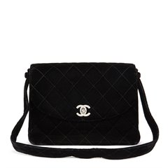 Chanel Black Quilted Velvet Vintage Classic Shoulder Bag