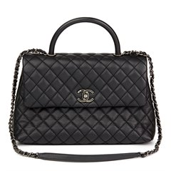 Chanel Black Quilted Caviar Leather Medium Coco Handle