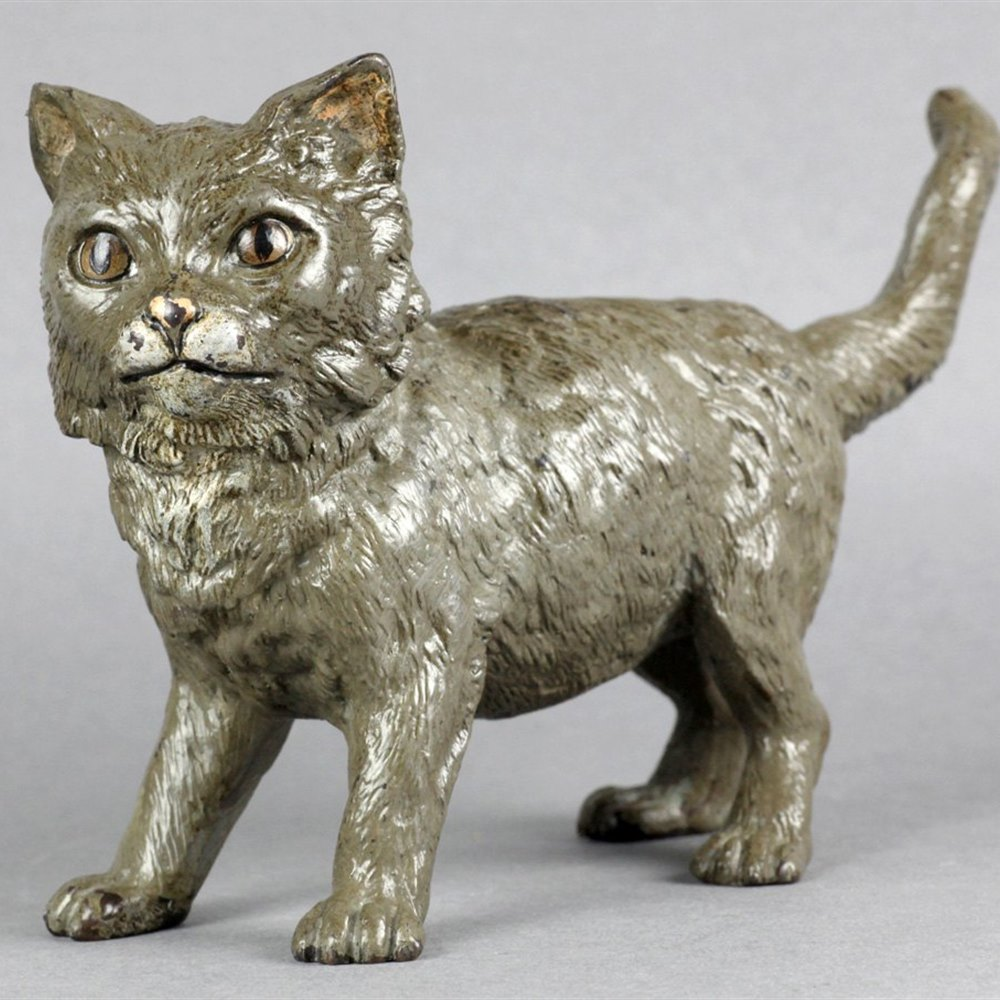 Large Austrian Cold Painted Bronze Cat Marked Geschutzt Early 20th C
