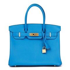 Hermès Blue Hydra & Gris Mouette Chevre Mysore Leather Special Order Birkin 30cm