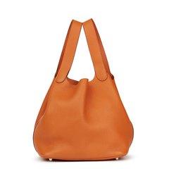 Hermès Orange H Clemence Leather Picotin 22