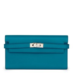 Hermès Bleu Colvert Epsom Leather Tri-Fold Kelly Wallet
