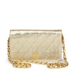 Chanel Gold Metallic Lambskin Vintage Mini Flap Bag