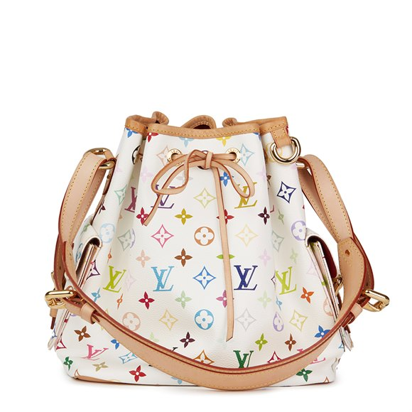 Louis Vuitton White Multicolore Monogram Coated Canvas Petit Noé