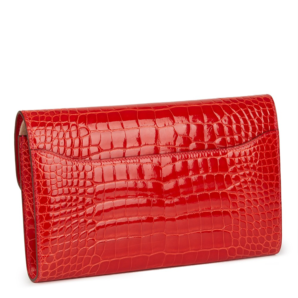 Hermès Geranium Shiny Mississippiensis Alligator Leather Constance Long Wallet