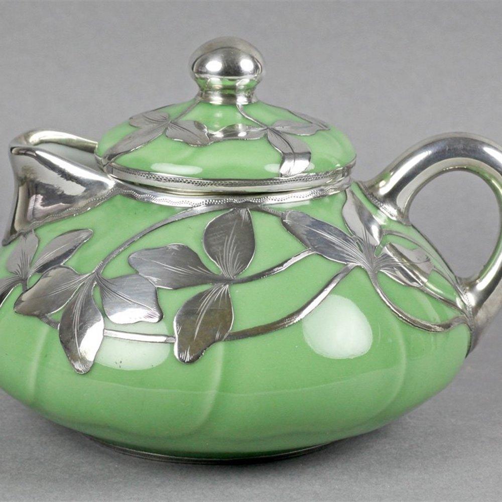 Rare Antique Shreve & Co Silver Overlay Oriental? Porcelain Teapot C.1905