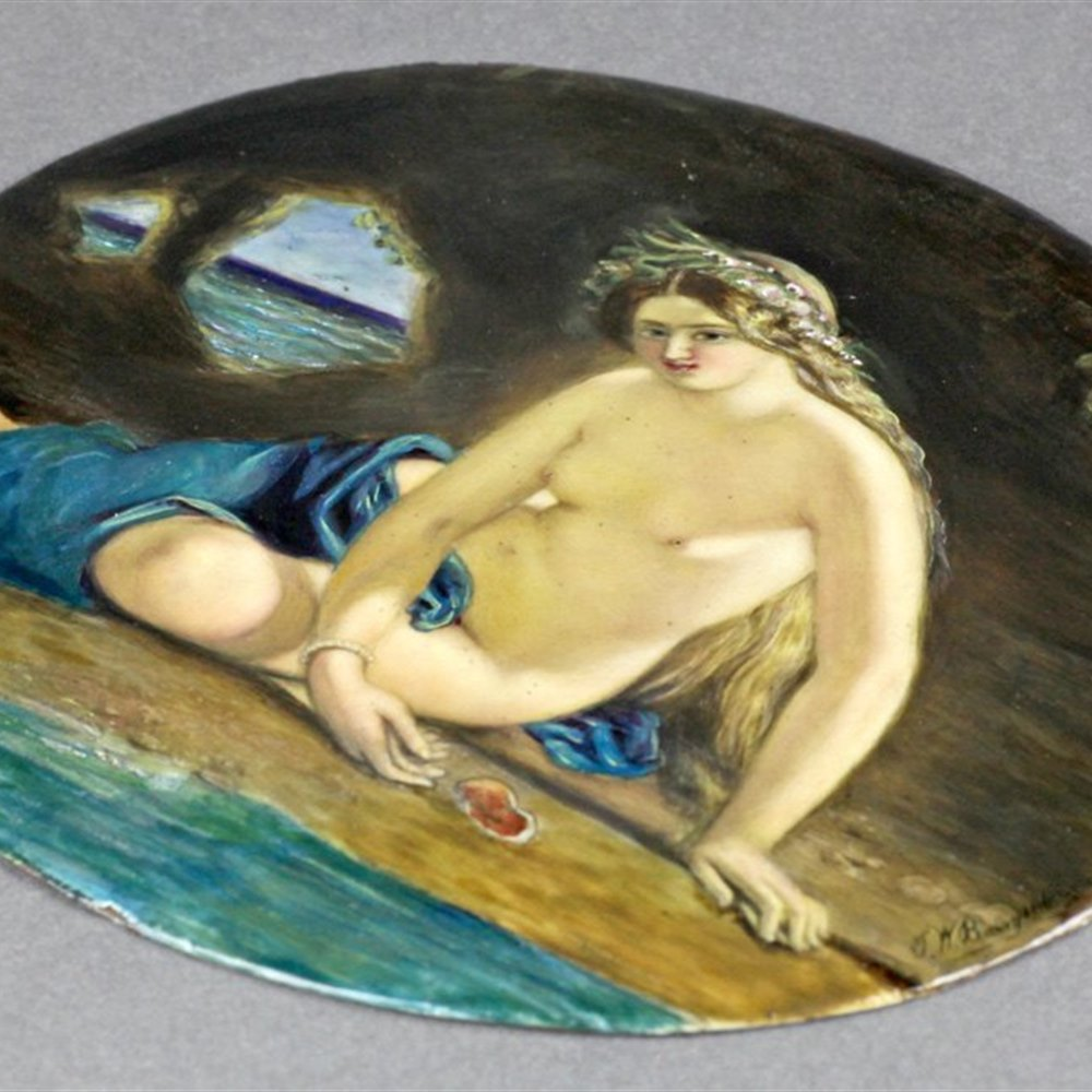 ENAMEL SEATED NUDE PLAQUE Dated 1860