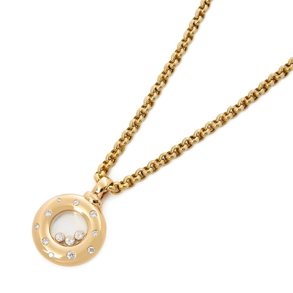 Chopard 18k Yellow Gold Happy Diamonds Dotted Necklace
