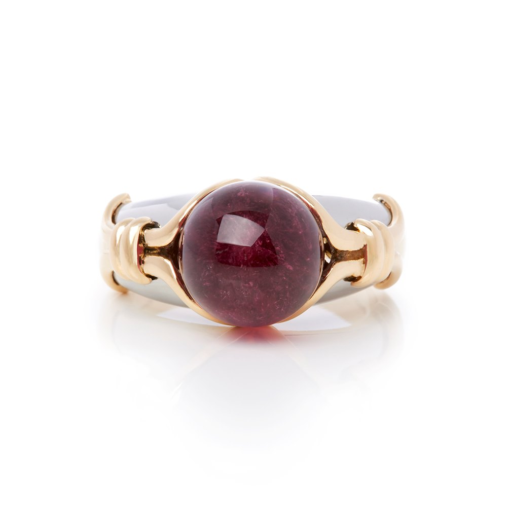 Bulgari 18k Yellow & White Gold Cabochon Tourmaline Ring