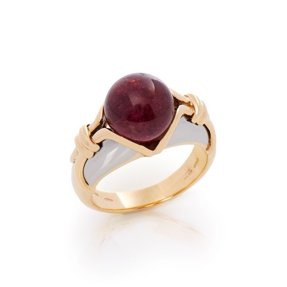 Bulgari 18k Yellow & White Gold Cabochon Ruby Ring