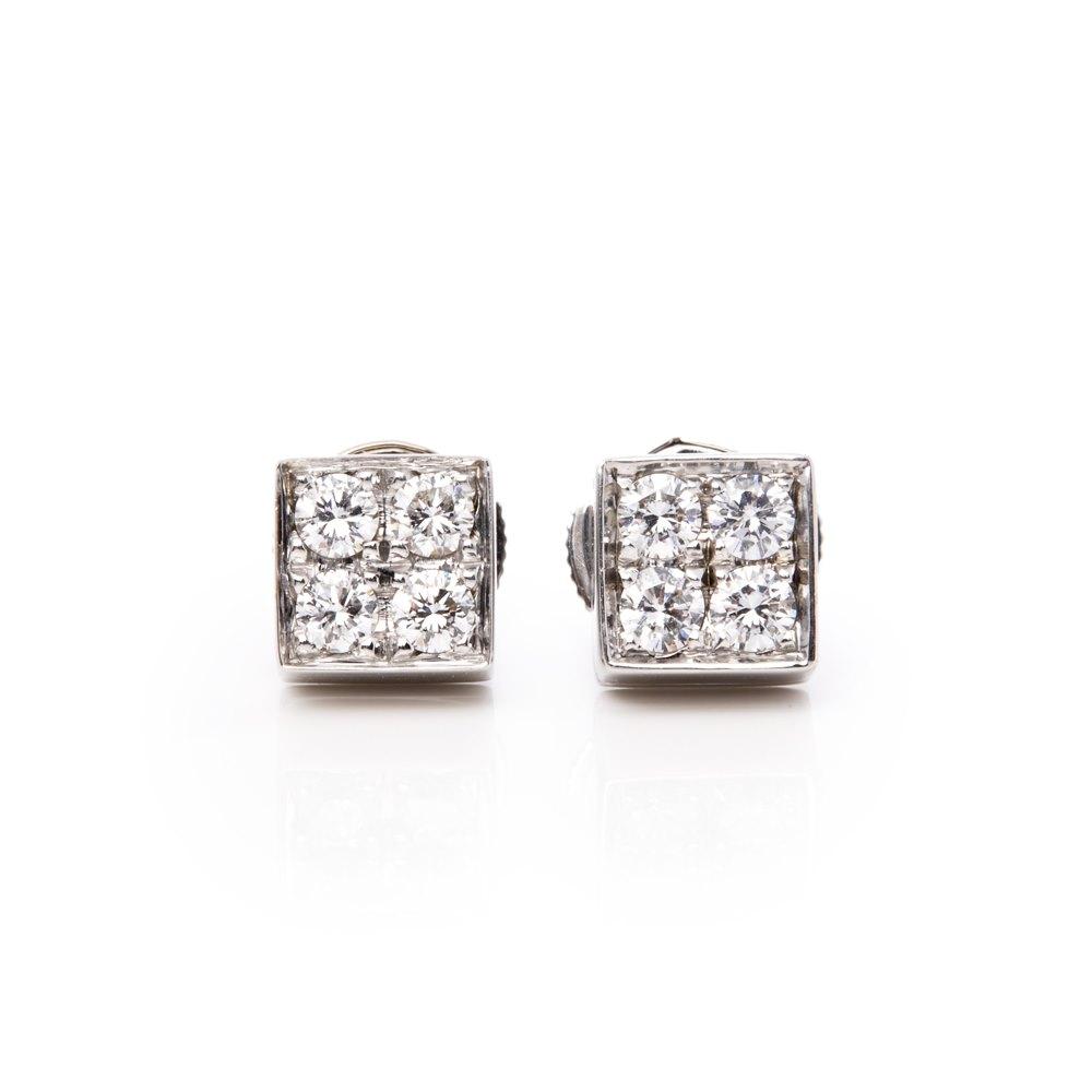 5befc0df9 Bulgari 18k White Gold Diamond Lucéa Stud Earrings COM1602 | Second ...