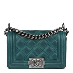 Chanel Teal Double-Stitch Quilted Aged Calfskin Leather Small Le Boy
