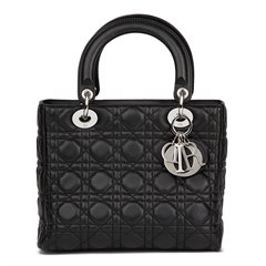 Christian Dior Black Quilted Lambskin Lady Dior MM