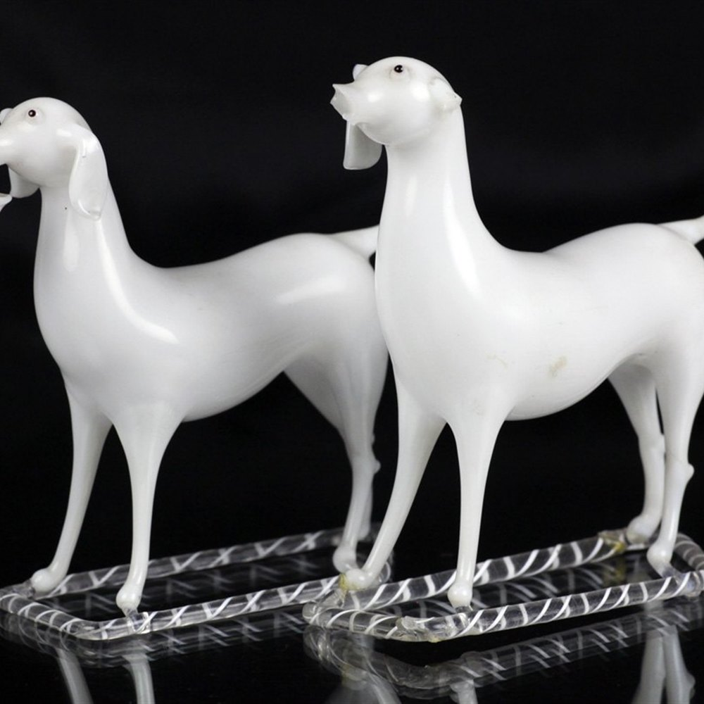 Pair Antique Blown Milk Glass Dogs One With Basket 19th C.